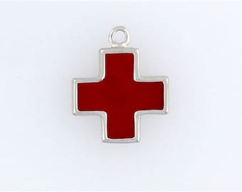 Sterling Silver Enameled Red Cross Charm