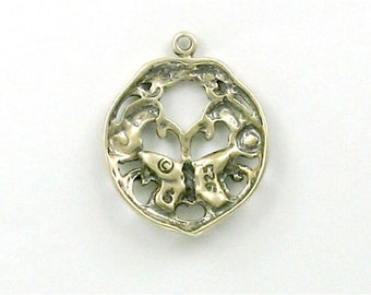 Sterling Silver Enameled Butterfly Charm