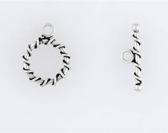 Sterling Silver Spiral Wrapped Toggle Clasp