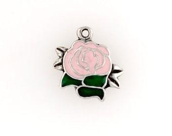 Sterling Silver Enameled Pink Rose Charm