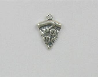 Sterling Silver 3-D Slice of Pizza Charm