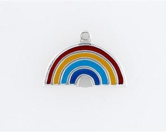 Sterling Silver Enameled Rainbow Charm