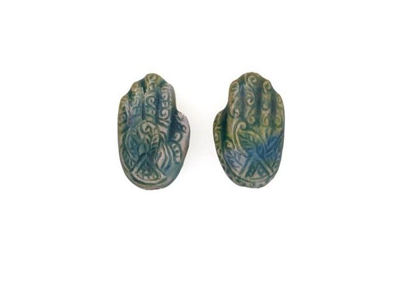 Raku Ceramic Henna Hand Beads for Earrings /& Bracelets