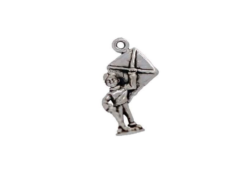 Silver Boy with a Kite Charm for Child/'s Themed Bracelet or Jewelry Sterling