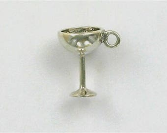 Sterling Silver 3-D Wine Goblet Charm