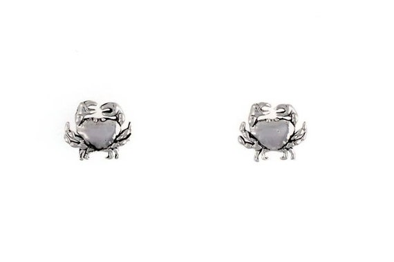 Dangle Earrings Sterling Silver Crab Choice Charm Post