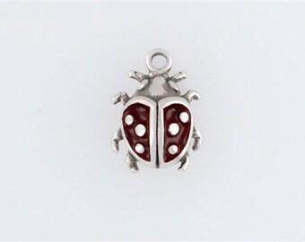 Sterling Silver Enameled Ladybug Charm