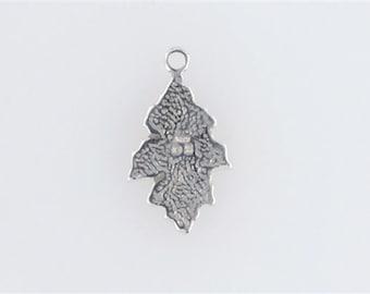 Sterling Silver Enameled Oak Leaf Charm