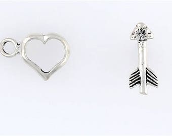 Sterling Silver Heart & Arrow Toggle Clasp
