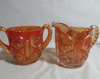 Imperial Carnival Glass Marigold creamer and open sugar Star & File, pair