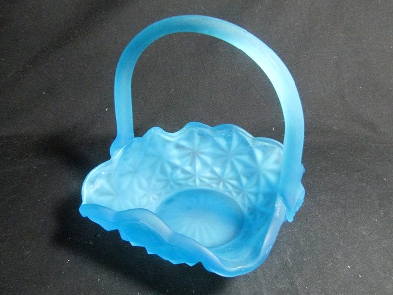USA made Indiana Glass Monticello   blue basket 6 square scalloped edge Choice