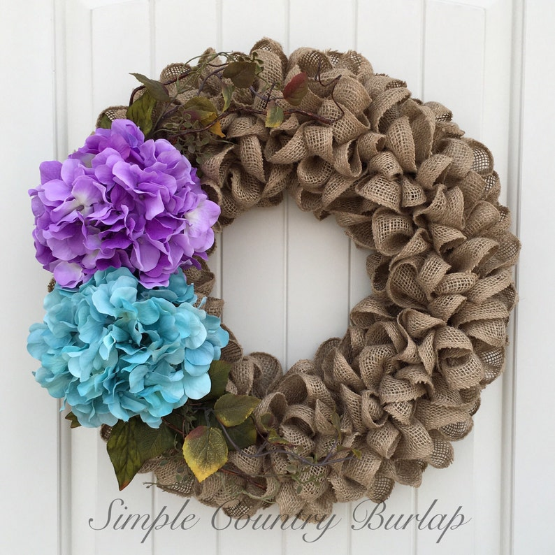 Spring burlap wreath natural burlap wreath accented with greenery 2 large colored hydrangeas in purple teal and cream