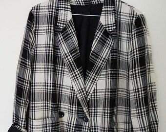 e0c0f442ecd Dereta Vintage Retro Check Jacket 80s Shoulder Pads