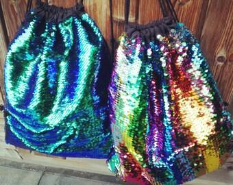 DRAWSTRING BAG Sequins Mermaid or Rainbow Sequin bag tote flip sequins magical unicorn gym bag festival bag back to school