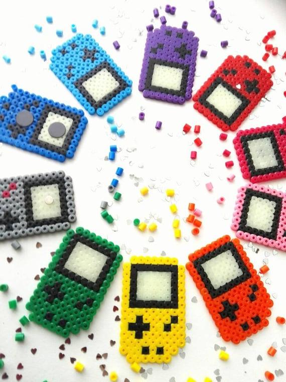 Gameboy Nintendo Magnets Perlerbeads Pixelart 8 Bit Fridge Oldschool Retro Glow In The Dark Display