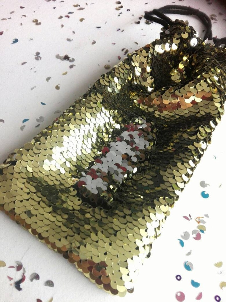 All Purpose sequin pouches in blue gold or old pink for phones sunglasses and other