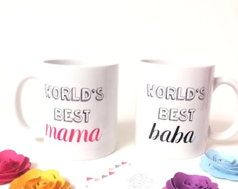 World's best mama and World's best Baba mugs. Gifts for new parents. New born gift. Baby shower Gift