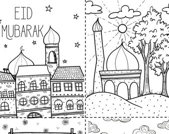 Eid Mubarak Printable Coloring Postcard Eid Decoration Eid Gifts For Kids Masjid Favors Perfect For Cl Room Schools