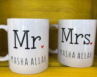 Mr and Mrs Masha Allah mugs - Muslim Gift for Couple. Islamic Wedding gifts