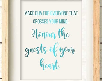 Make Dua for everyone, Honour the guest. Islamic Wall Art, Real Rose Gold Foil, Teal, Muslim Gift for BFF, Islamic Gifts