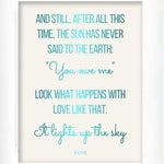 Real foil print inspirational rumi quote. Print only, frame not included