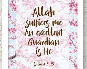 Allah is sufficient for me, Modern Islamic Hand Lettering, Quran Quote, Islamic Reminder