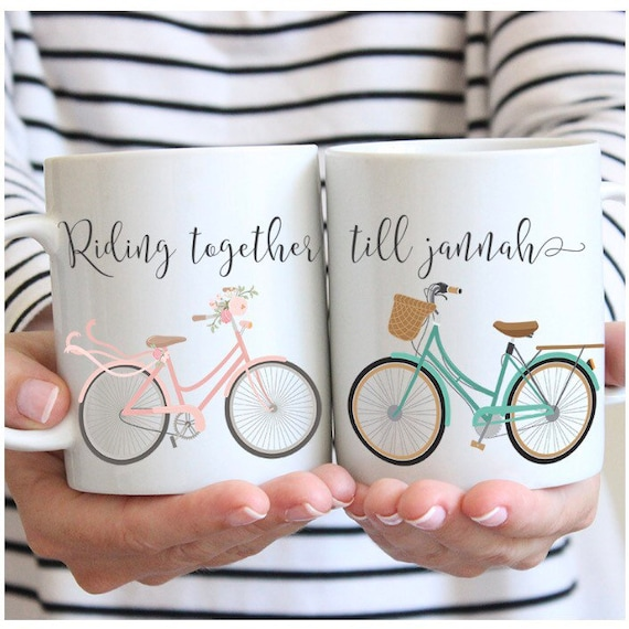 Muslim Wedding Gift: Riding Together Til Jannah Couple Mugs Islam Muslim