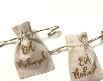 10 Eid Mubarak favor bags, pack of 10 eid favor bags, eid party treats, eid decoration