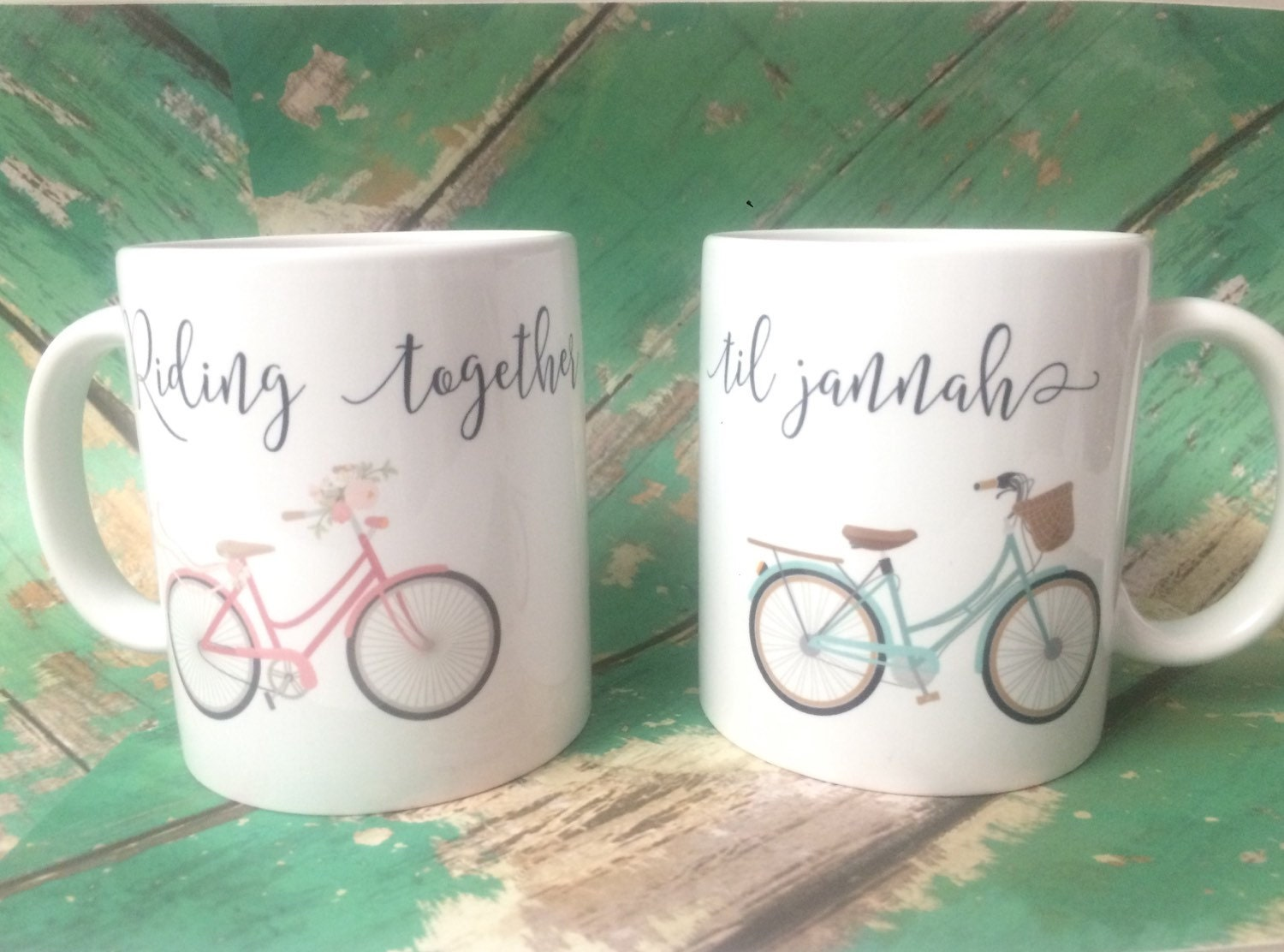 Riding together til Jannah couple mugs muslim wedding set