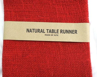 "Red Burlap Table Runner 14"" x 72"" finished edges. Good for rustic country weddings, finish edges, catering, home decor (BH-R11)"