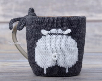 Sheep lover gift, Knitted coffee mug cozy, Sheep butt, Party favor, Mug sweater, Tea sleeve,  Cup warmer, Coffee cosy, Hot drink cozy