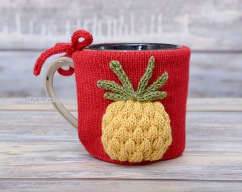 Pineapple lovers gift, Mug sweater, Tea sleeve, Cup warmer, Knitted coffee cozy, Party favor,  Tropical fruit, Hot drink cosy, Centerpiece