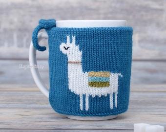 Llama lovers gift, Mug sweater, Tea sleeve, Cup warmer, Knitted coffee mug cozy, Party favor,  Hot drink cosy, Animal print, centerpiece