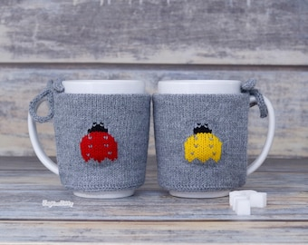 Knitted coffee cup sleeve, Coffee cozy, Mug sweater, Kitchen decor, Tea cosy, Cup cover, Party favor, Home decor, Tea cozy, Knit warmer