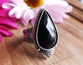 CHOOSE YOUR SIZE Faceted Onyx Ring or Pendant, Cocktail Ring, Custom Size, One of a Kind, Boho Chic, Bohemian Ring, Black Stone Ring