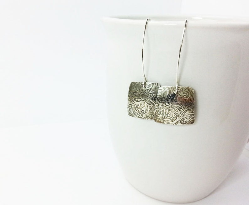 Modern Square Silver Earrings-Long Dangle Earrings-Handcrafted Earrings-Textured Silver-Charcoal Patina