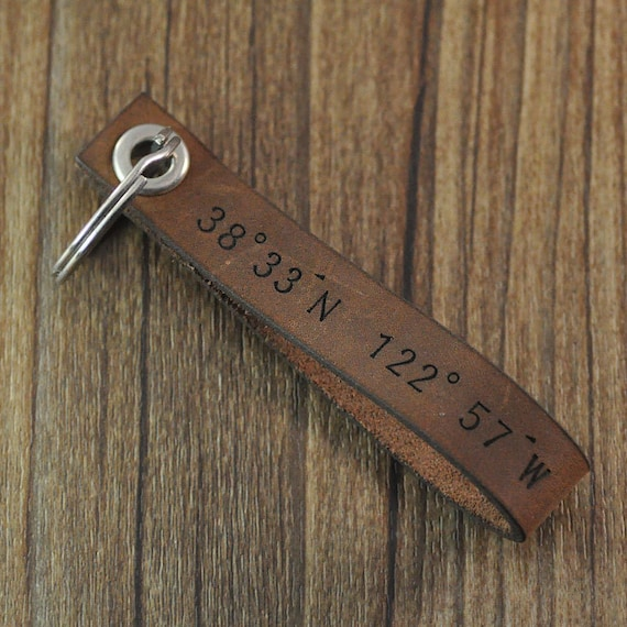 personalized coordinates keychain,custom leather keychain,personalized Leather Key ring,Valentine gift for him husband boyfriend