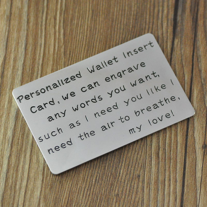Custom Wallet Card, Personalized wallet card, personalized gift, hand stamp words, gift for boyfriend,husband,Valentine Gift