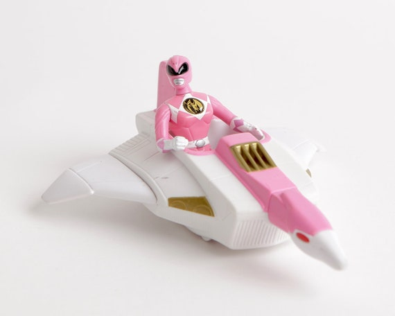 vintage pink power ranger action figure with rolling pink etsy