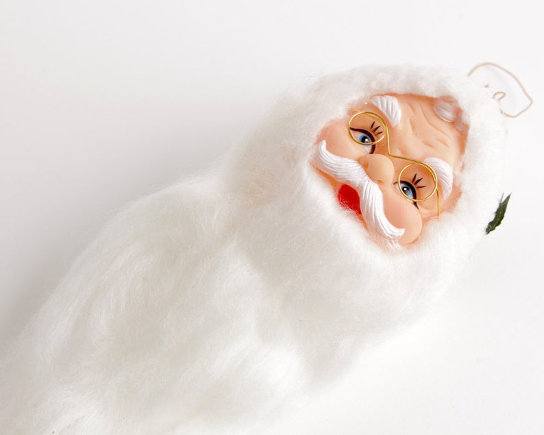 Santa Doll Head Pink Stocking Caps with Star Design and Holly Detail Vintage Santa Head with Cotton Fluff Beard and Wire Rimmed Spectacles