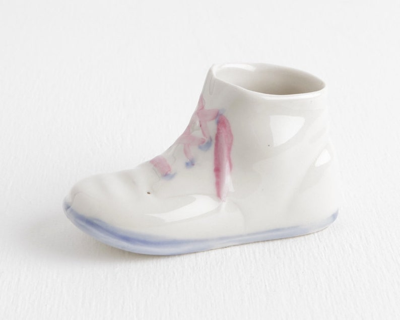 9ac29ea7e56ca Vintage Ceramic Baby Shoe Planter, White with Pink Laces and Blue Sole and  Eyelets, Sweet Vintage Nursery Decor