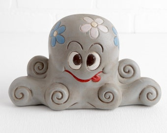 Vintage Ceramic Octopus Figurine, Hand Painted Gray Octopus Decor, Anthropomorphic Animal Figurine with Flowers