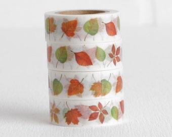 Fall Leaves Washi Tape, Leaf Autumn Seasonal Washi, 15mm