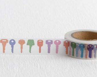 Multicolor Key Washi Tape, DIY Housewarming Card, 15mm