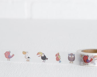 Bird Washi Tape, Toucan Owl Parrot Sparrow and Pelican on Decorative Tape 15mm