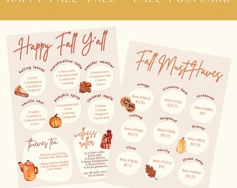 FALL Oil Postcard, Fall Scents, Fall Must Haves,  Essential Oil Resource, Young Living Postcard, Brand Partner Resource