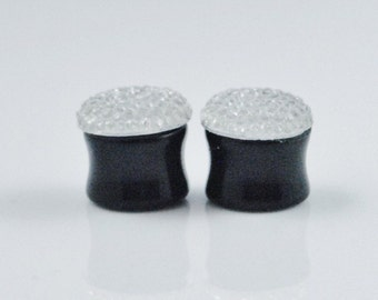 """9/16"""" 14mm mm silver sparkly gauges plugs"""