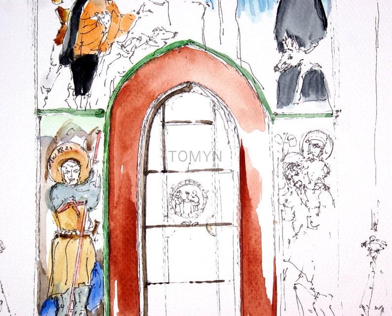 St UKRAINE Original Watercolor Odelone/'s Funeral The Armenian Cathedral Lviv  Interior Church Art LVIV Ukrainian Painting.