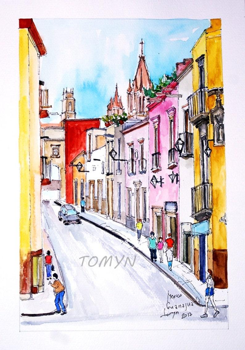 Guanajuato Mexico View from San Miguel de Allende Original watercolor painting.