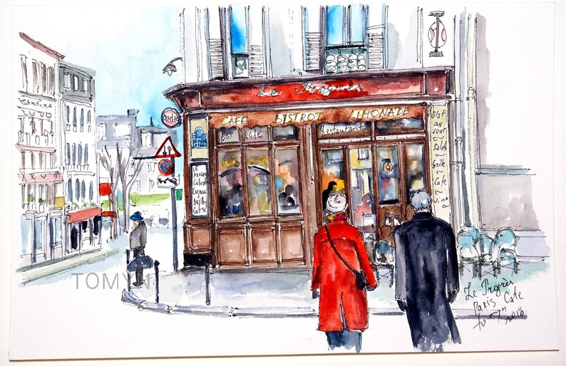 French Wall Cafe Street Bar Watercolor Progres Original Bistro Paris Le Restaurant Art Parisian 0PX8knwO